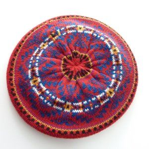 Aris Vintage Hippie Hand Knit Beret Red Blue